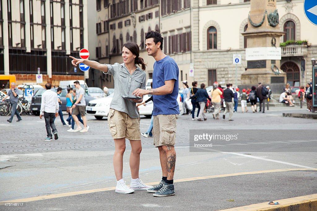 Young couple on city break, Florence, Tuscany, Italy : Stock Photo