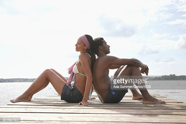 Young couple on dock