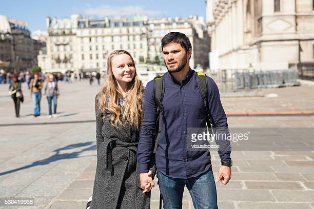 Young Couple on Holiday Exploring Europe Together