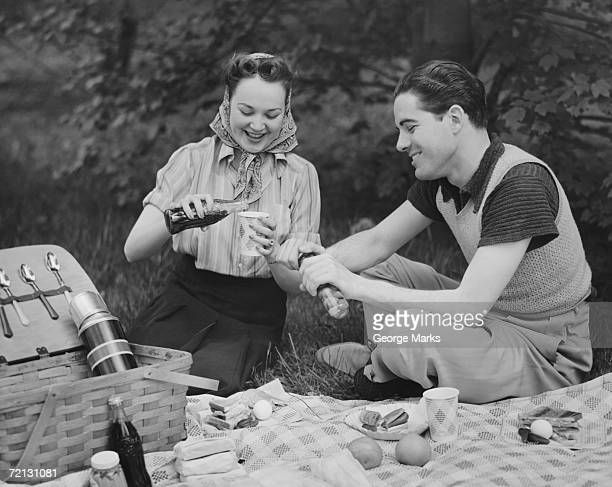 Young couple on picnic (B&W)