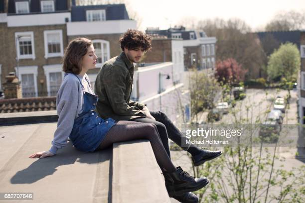 Young couple on roof