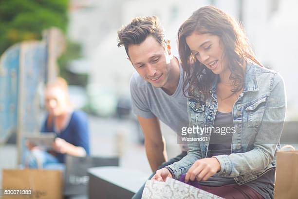 Young couple on shopping tour