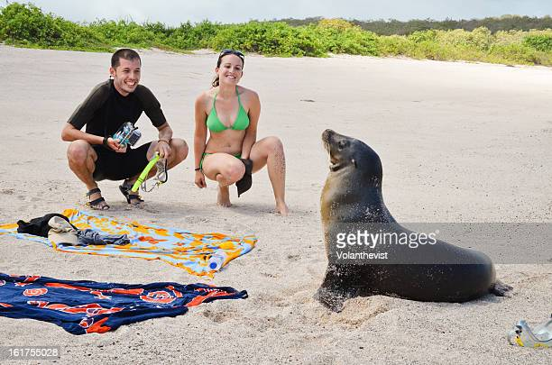 Young couple on the beach with funny sea lion