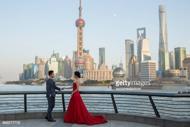 Young couple posing for wedding photography, Shanghai