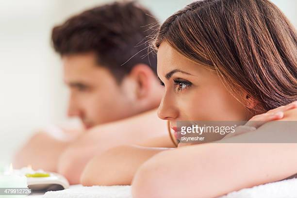Young couple relaxing at the spa.