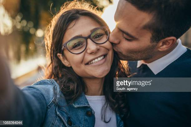 young couple selfie - love at first sight stock pictures, royalty-free photos & images