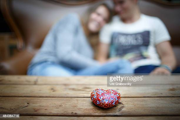 A young couple seventeen and nineteen years old look at each other lovingly on August 10 2015 in Bonn Germany