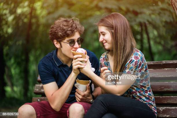Young Couple Sharing Ice Cream