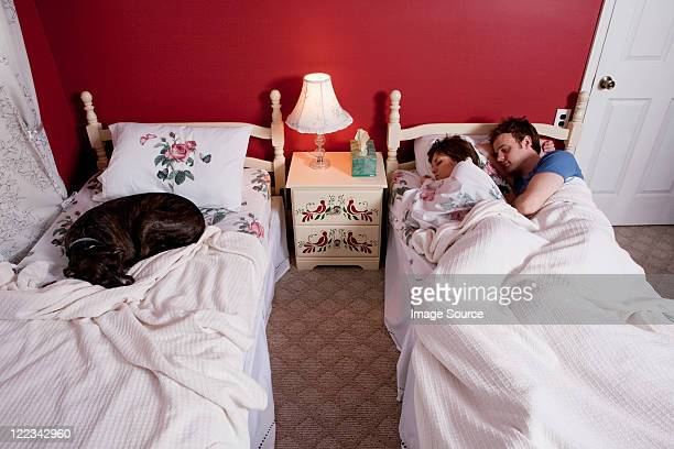 Young couple sharing single bed, dog asleep on other bed