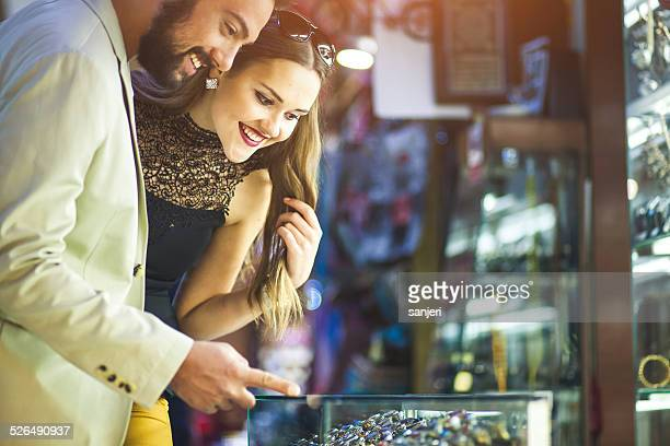 Young couple shopping at the street bazaar