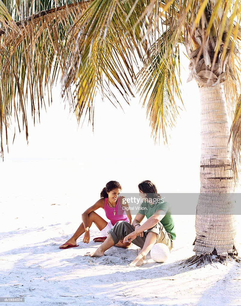 Young Couple Sitting Face to Face on a Beach by a Palm Tree : Stock Photo