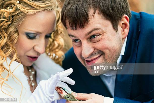 Young couple splits the money