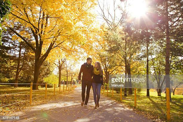 young couple strolling in autumn park, vienna, austria - gold shoe stock pictures, royalty-free photos & images