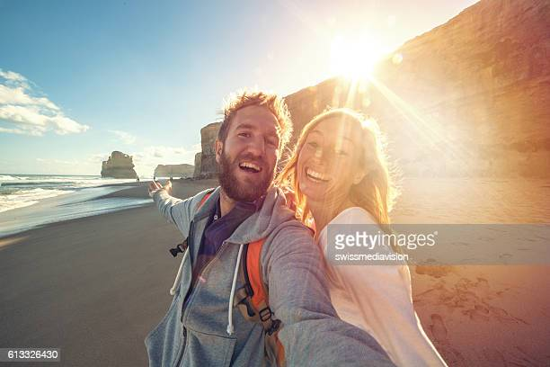 Young couple take a selfie portrait on Gibsons steps beach