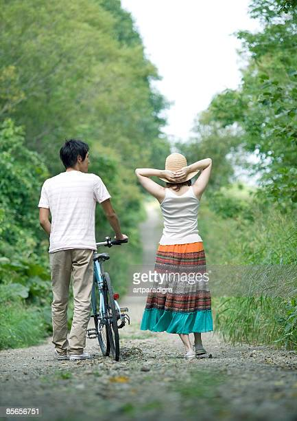 Young couple taking a walk in nature