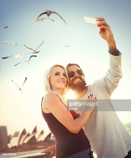 Young couple taking selfie in Sydney