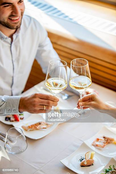 Young Couple Toasting on a Romantic Date