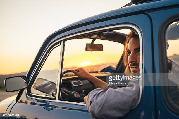 young couple trip with vintage car - vintage car stock pictures, royalty-free photos & images