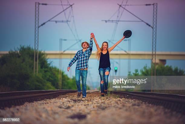 Young couple urban exploring