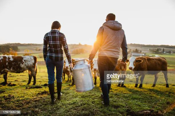 young couple villagers with milk cans - rancher stock pictures, royalty-free photos & images