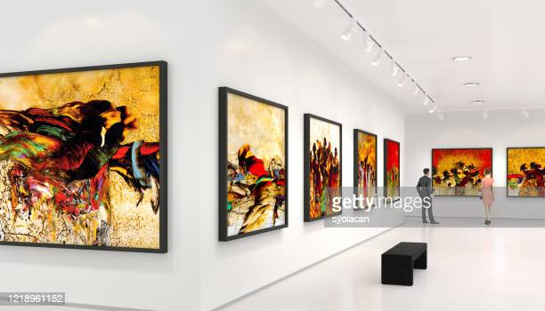 young couple visits art exhibition - syolacan stock pictures, royalty-free photos & images