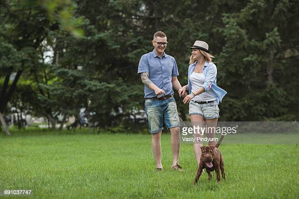 a young couple walking their shar-pei/staffordshire terrier in a park - side by side stock pictures, royalty-free photos & images