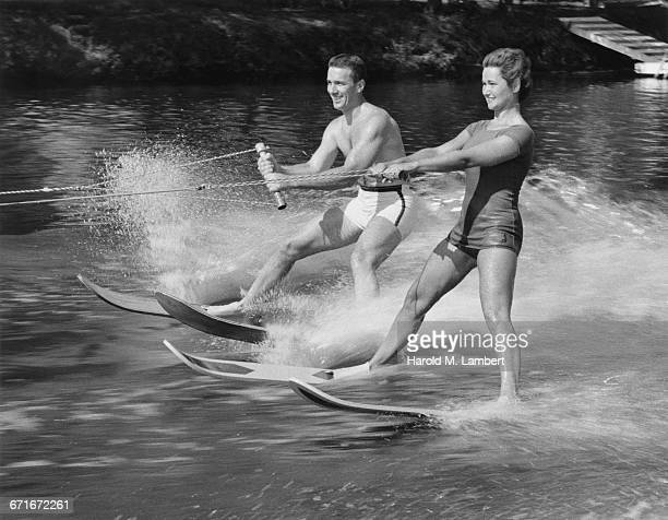 Young Couple Water skiing