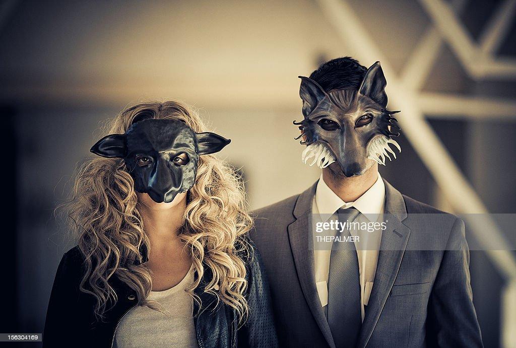 young couple wearing animal mask : Stock Photo