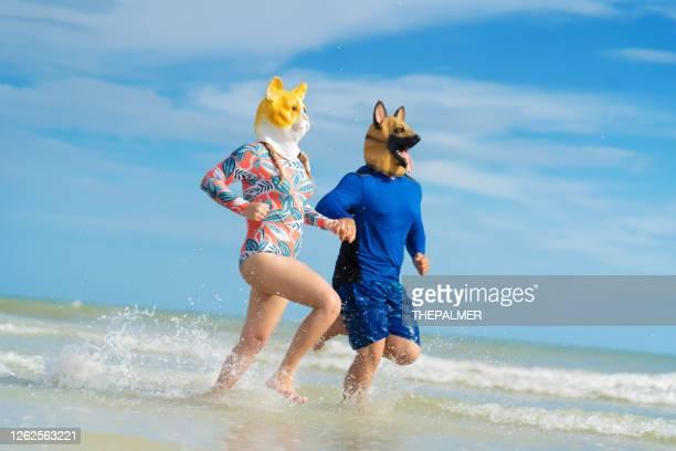 ビーチで走っている動物のマスクを身に着けている若いカップル - フォートマイヤーズ ストックフォトと画像