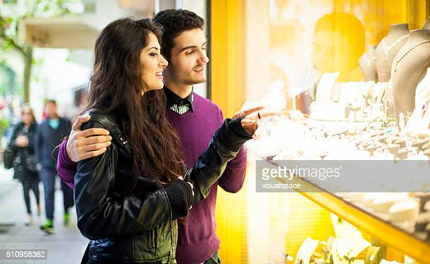 Young Couple Window Shopping in the Street