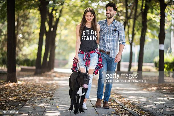 Young couple with dog walking in the park