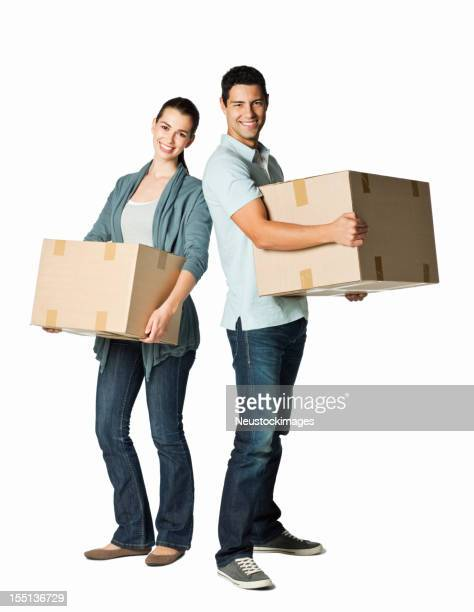 Young Couple With Moving Boxes - Isolated