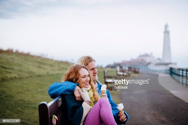 Young Couple with their Ice-cream Cones on the Coast