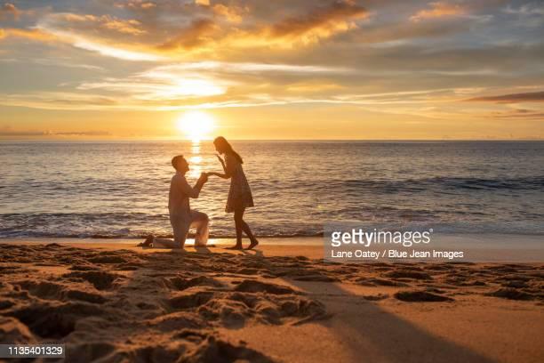 young couple's moment of proposing - prometido relación humana fotografías e imágenes de stock