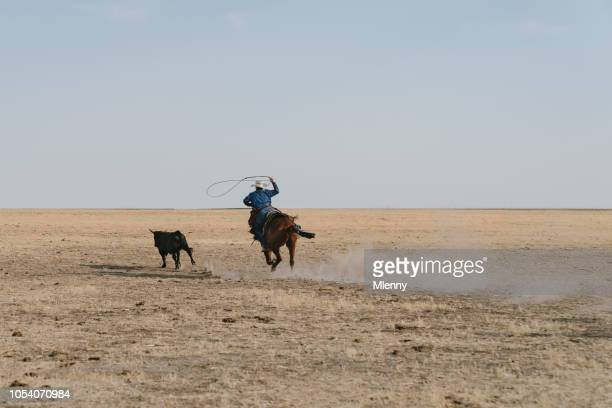 Young cowboy chasing escaped bull with lasso