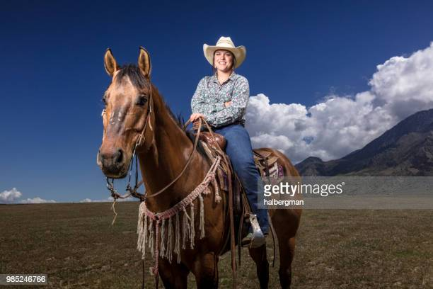 Young Cowgirl on Horseback