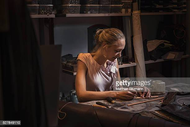 Young craftswoman at work