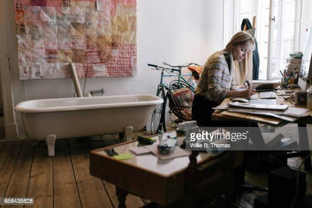 Young Creative woman working in home office