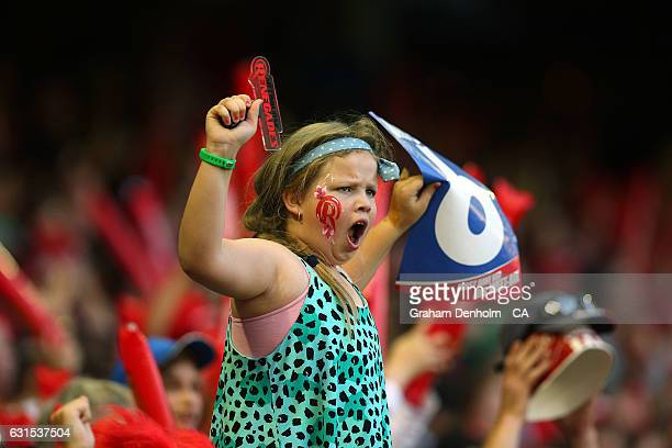 A young cricket fan shows her support during the Big Bash League match between the Melbourne Renegades and the Hobart Hurricanes at Etihad Stadium on...