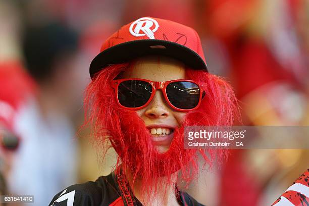A young cricket fan shows his support during the Big Bash League match between the Melbourne Renegades and the Hobart Hurricanes at Etihad Stadium on...