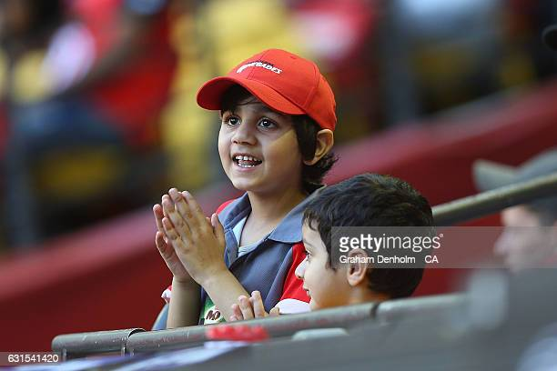 Young cricket fan shows his support during the Big Bash League match between the Melbourne Renegades and the Hobart Hurricanes at Etihad Stadium on...
