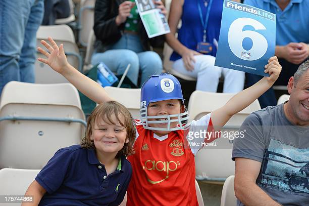 Young cricket fans enjoy themselves during the Friends Life T20 Quarter Final between Hampshire Royals and Lancashire Lightning at Ageas Bowl on...