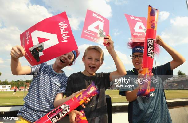 Young cricket fans pose at the Vitality Blast match between Northamptonshire Steelbacks and Nottinghamshire Outlaws at The County Ground on July 6...