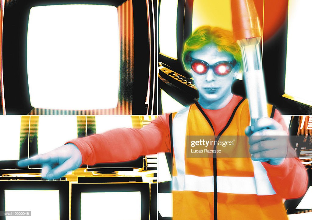 Young crossing guard standing in front of monitors, pointing, digital composite. : Stockfoto