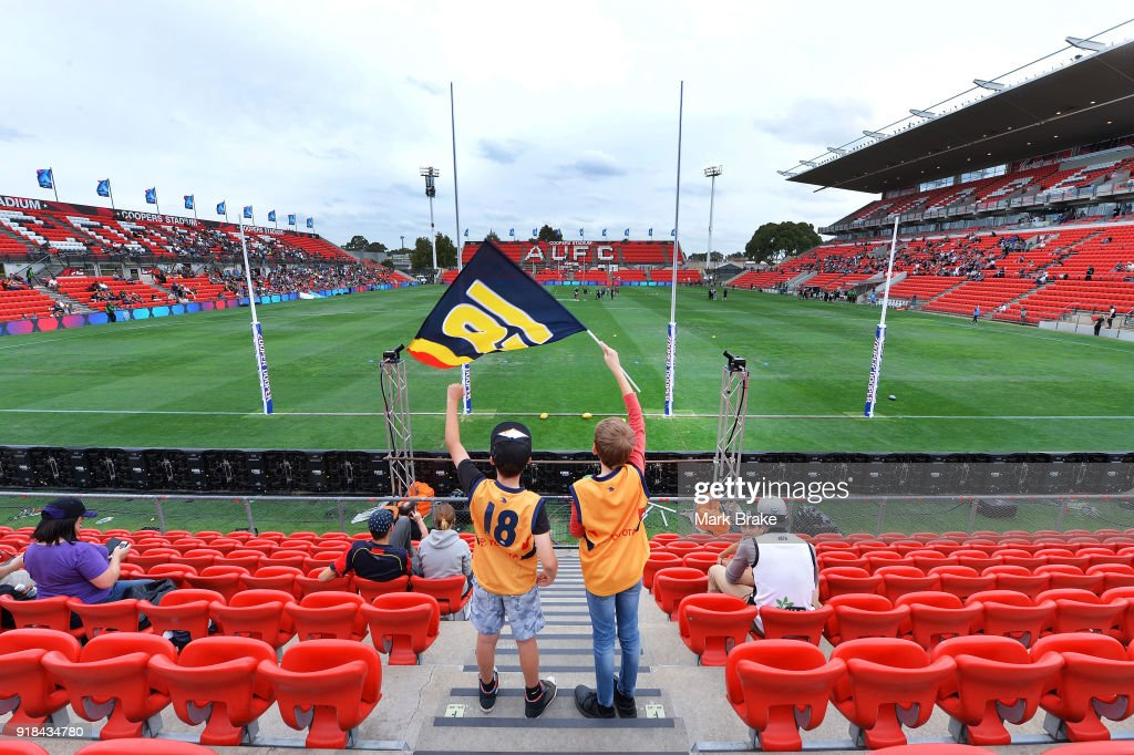 Young Crows fans beffore start of the AFLX match between Port Adelaide and Geelong at Hindmarsh Stadium on February 15, 2018 in Adelaide, Australia.