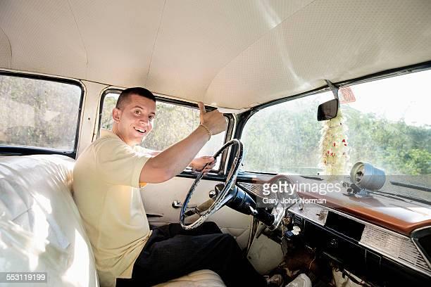 Young Cuban taxi driver