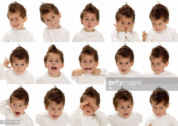 Young cute boy making 15 different faces.
