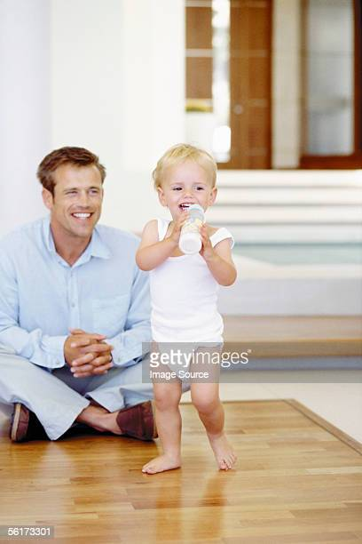 Young dad with toddler