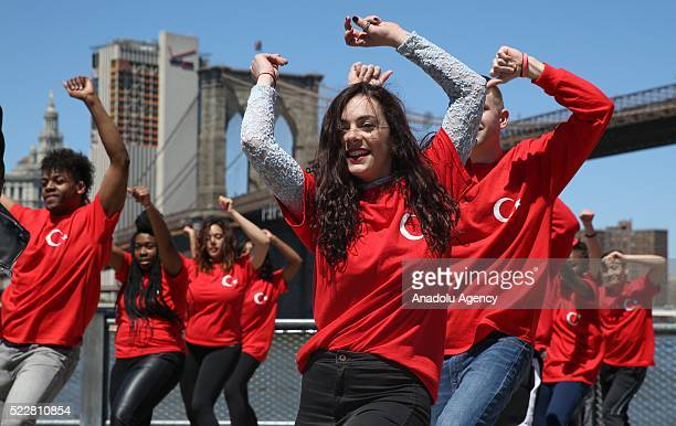 Young dance group wearing Turkish flag tshirts perform peace choreography in response to the Armenian claims on 1915 incidents in New York United...