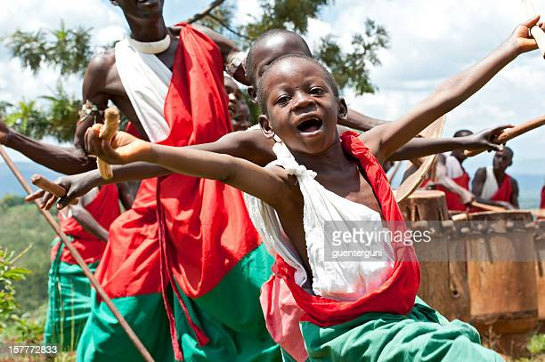 young dancers and drummers, gitega in burundi, africa - burundi east africa stock pictures, royalty-free photos & images